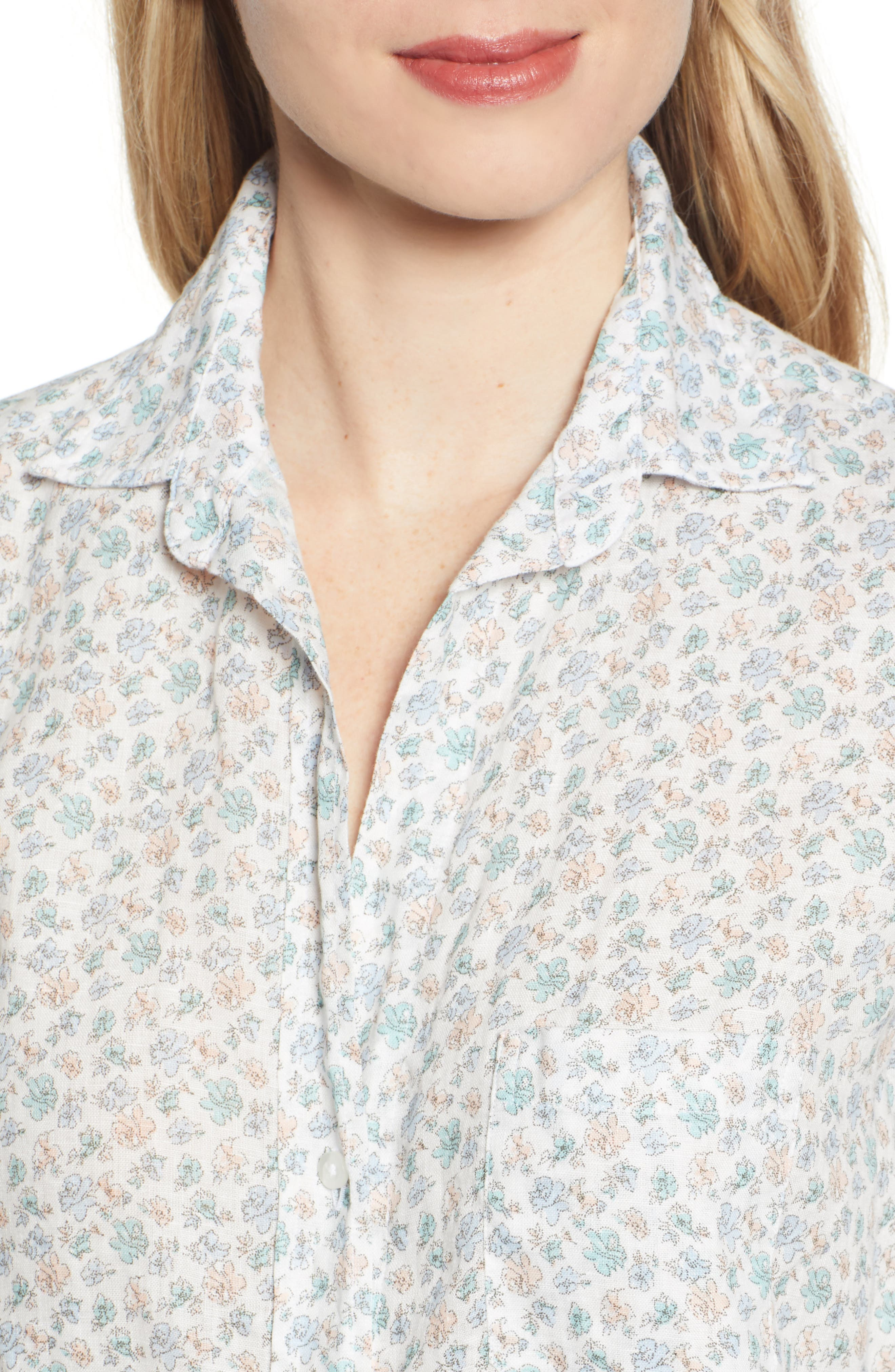 ,                             The Hero Print Tumbled Linen Shirt,                             Alternate thumbnail 4, color,                             CHARLOTTE BLUE MULTI FLOWER
