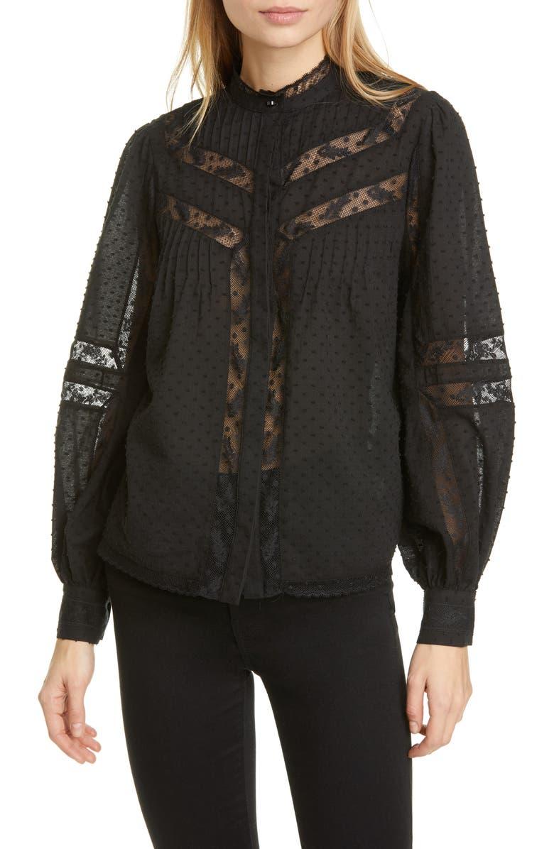 JOIE Nazly Clip Dot Lace Inset Cotton Shirt, Main, color, CAVIAR