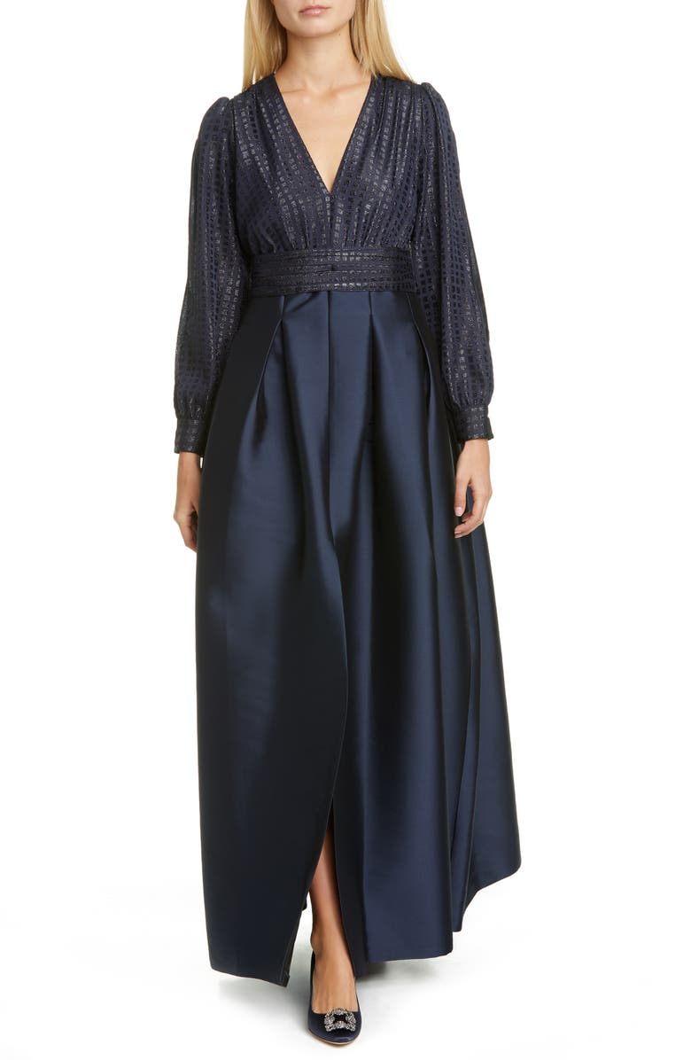 SACHIN & BABI Split Long Sleeve Ballgown, Main, color, MIDNIGHT