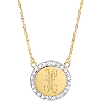 Jane Basch Designs Diamond Halo Initial Pendant Necklace