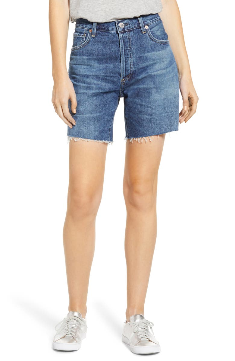 CITIZENS OF HUMANITY Bailey Loose Fit Shorts, Main, color, BLUE ROSE