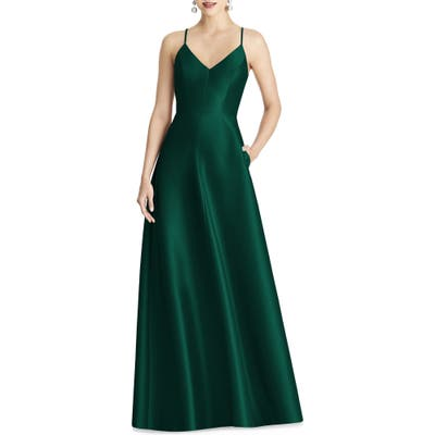 Alfred Sung Strappy Sateen A-Line Gown, Green