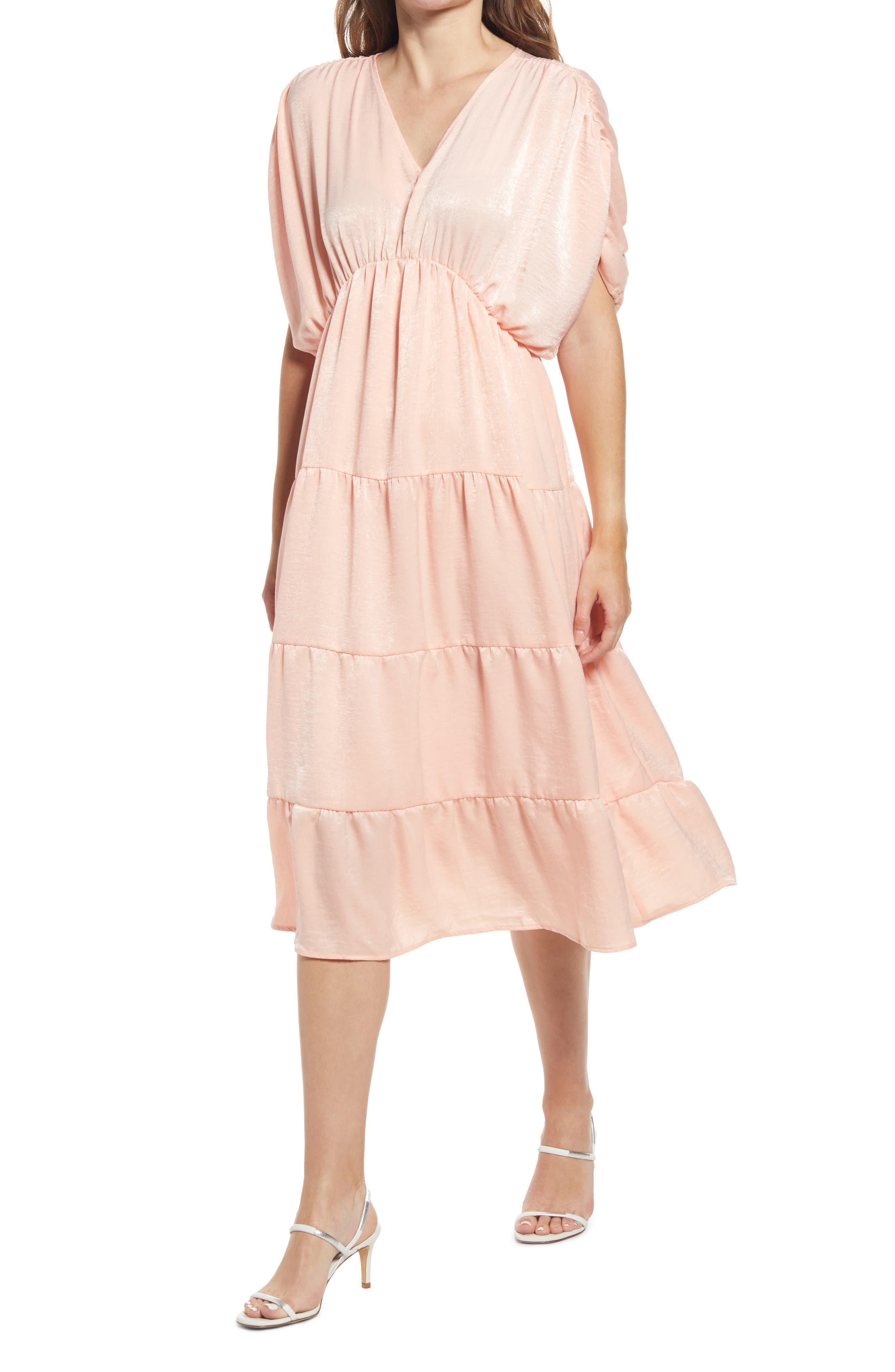 Shirred Satin Midi Dress