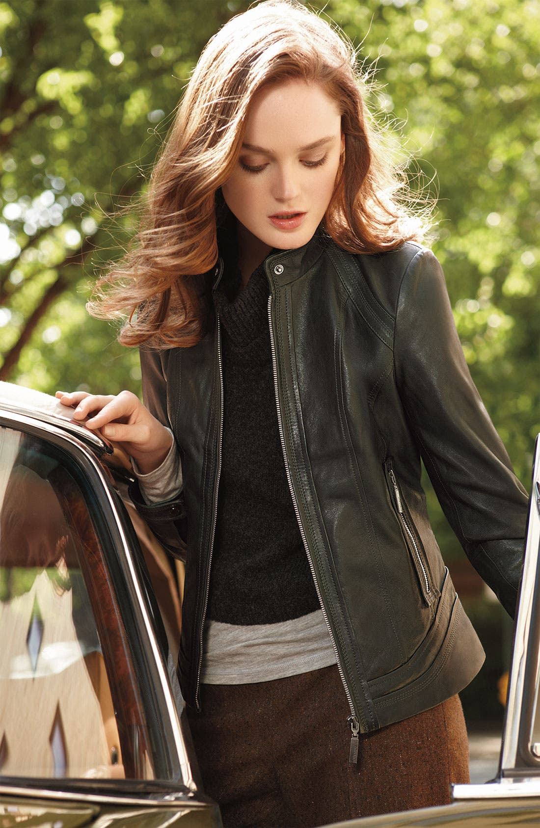 ,                             Seamed Lambskin Leather Scuba Jacket,                             Alternate thumbnail 2, color,                             001