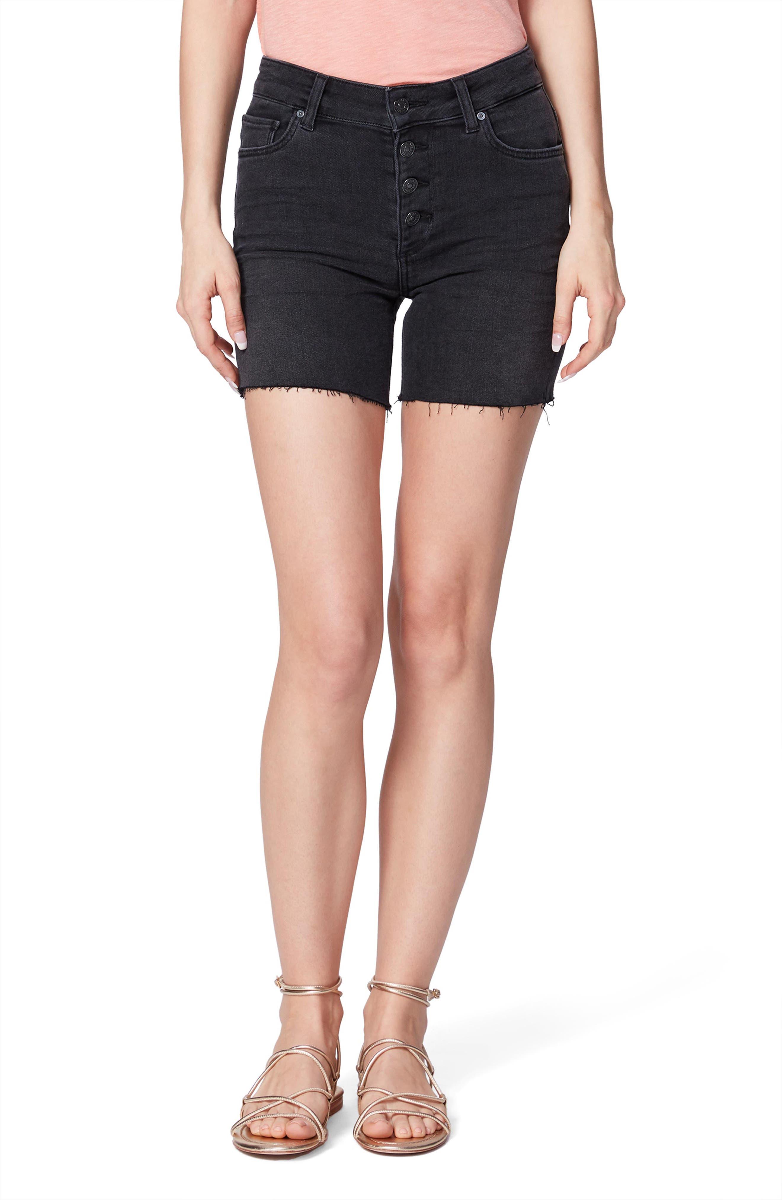 Women's Paige Sarah High Waist Slim Longline Cutoff Denim Shorts,  27 - Black