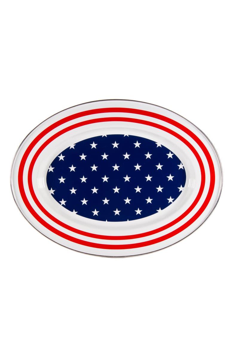 GOLDEN RABBIT Enamelware Stars & Stripes Oval Platter, Main, color, WHITE