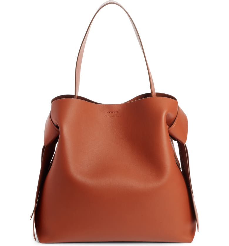 ACNE STUDIOS Musubi Leather Maxi Bag, Main, color, ALMOND BROWN