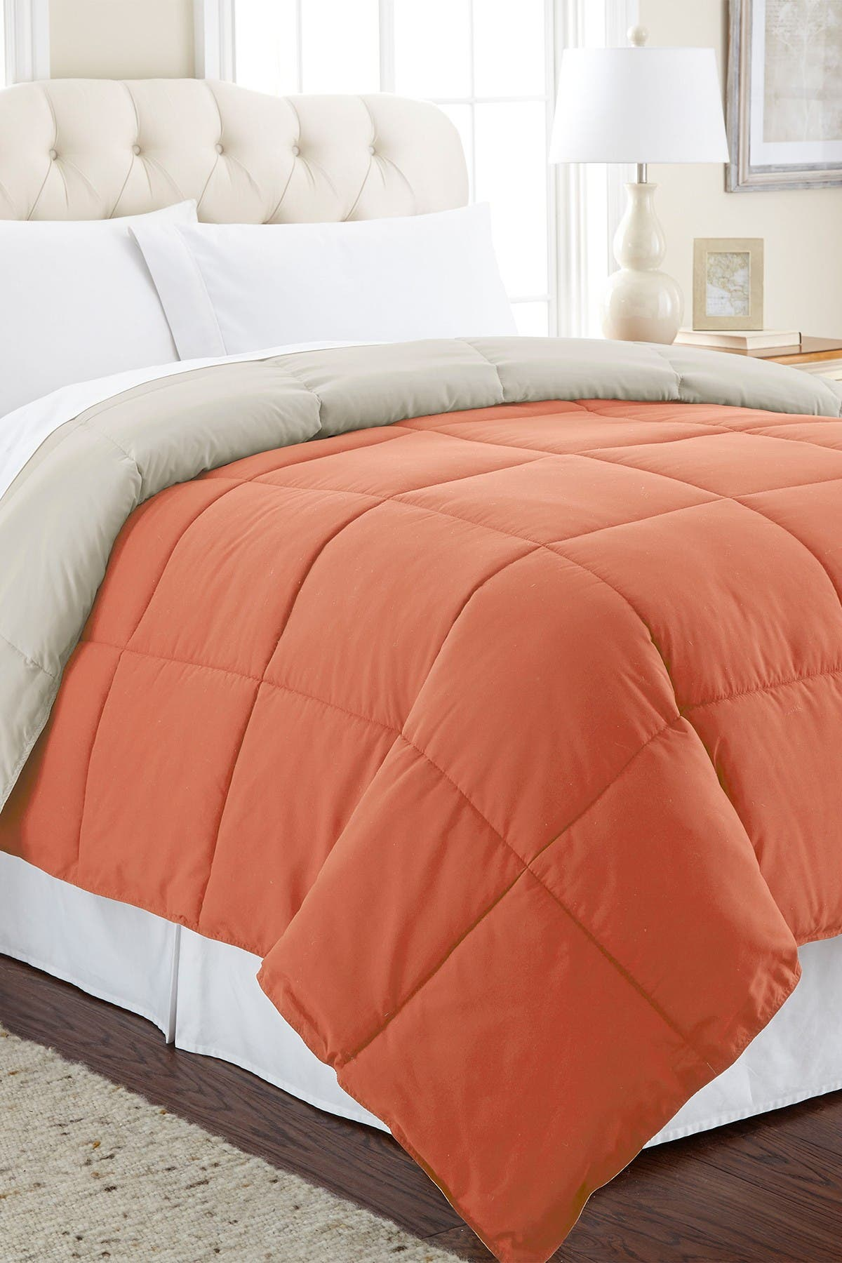 Image of Modern Threads Down Alternative Reversible Queen Comforter - Orange Rust/Oatmeal