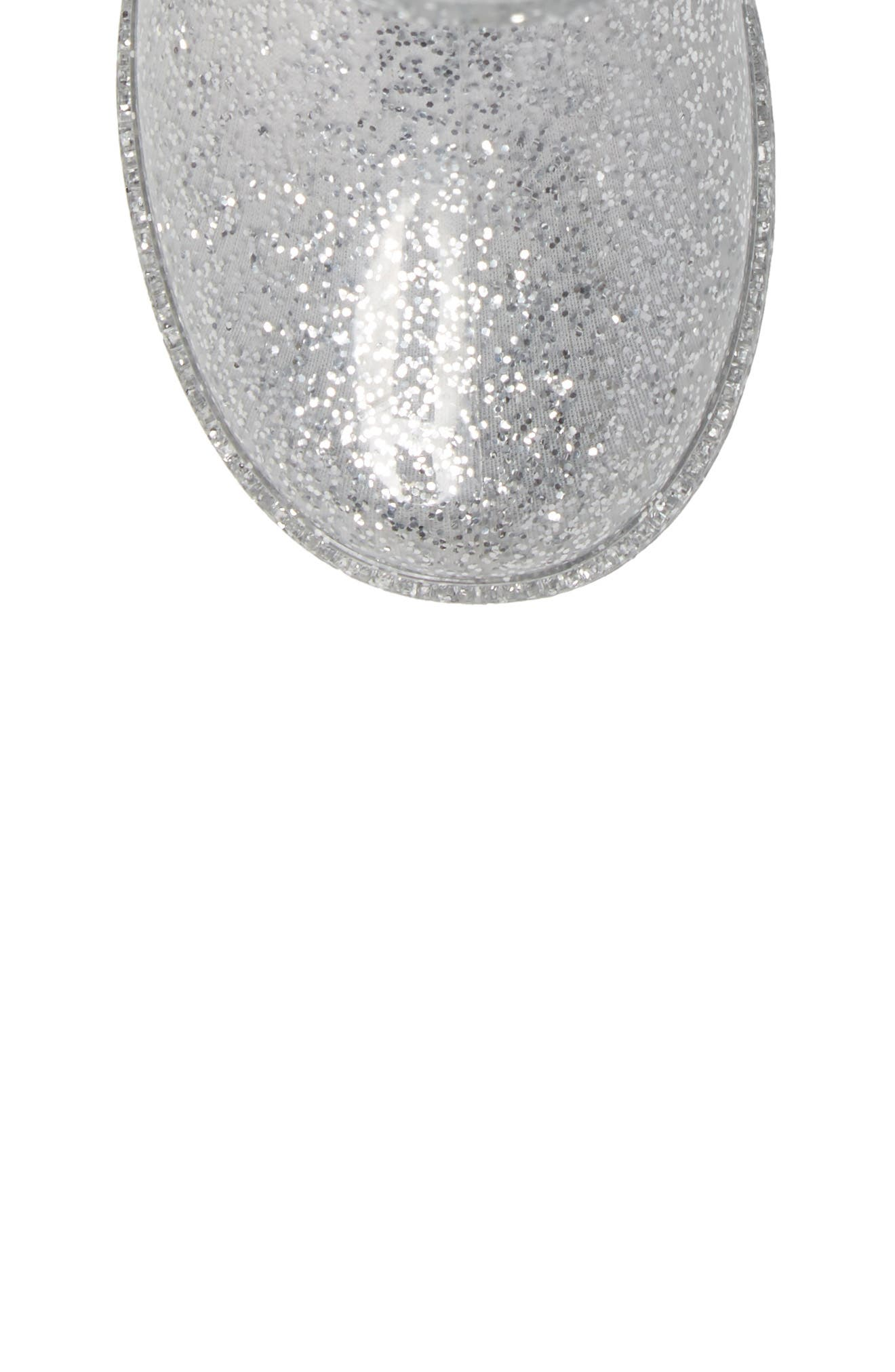 ,                             Glitter Waterproof Rain Boot,                             Alternate thumbnail 5, color,                             SILVER