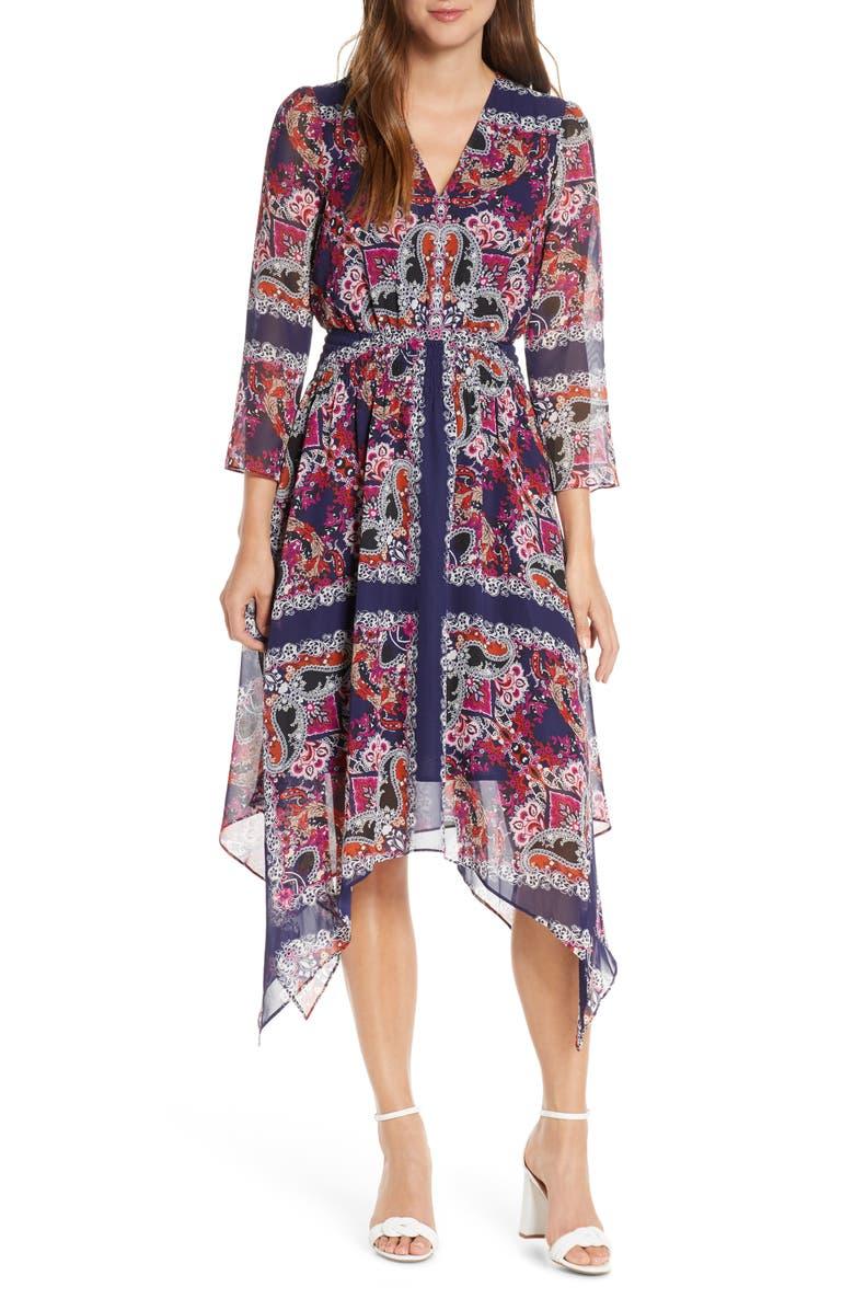 VINCE CAMUTO Paisley Handkerchief Hem Midi Dress, Main, color, NAVY/ MULTI