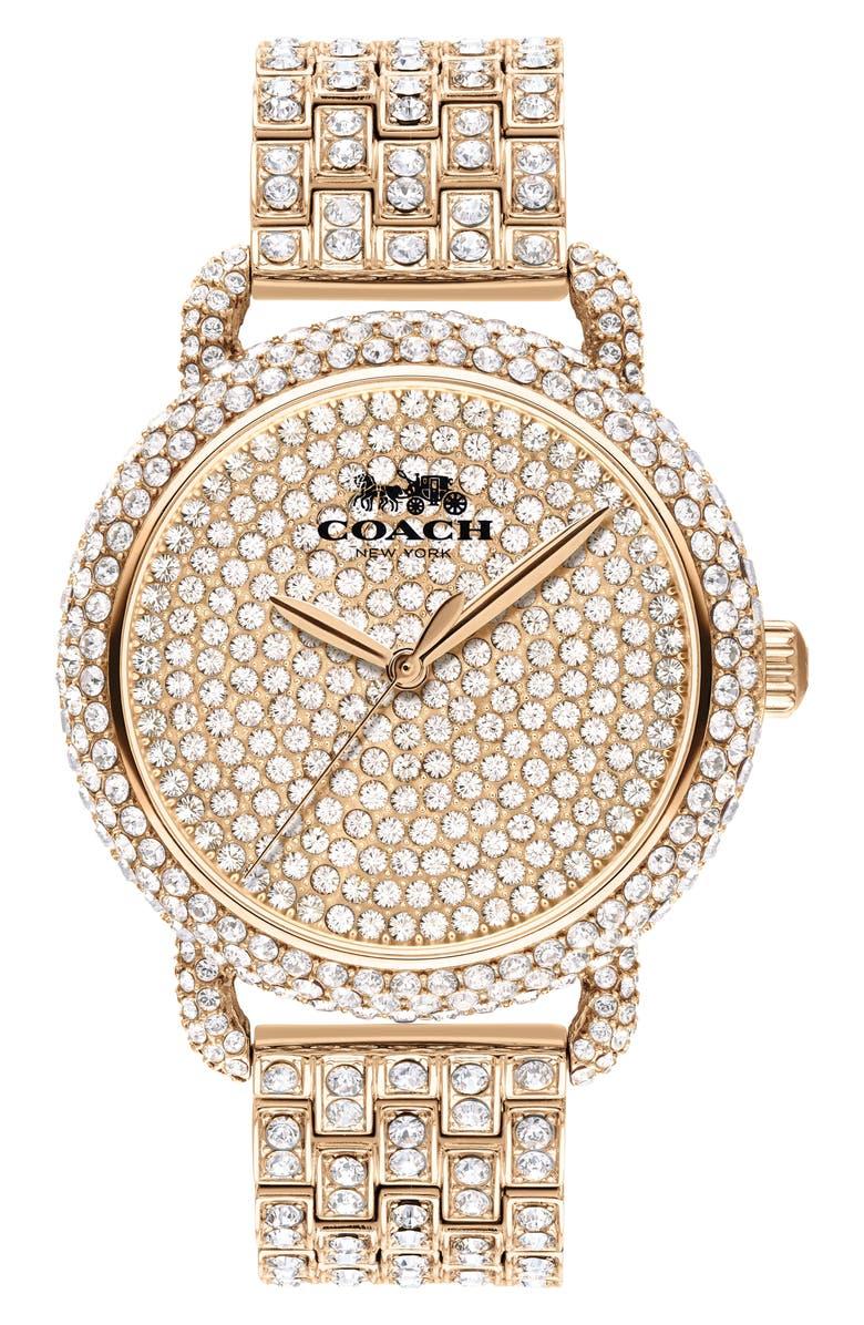 COACH Delancey Crystal Bracelet Watch, 36mm, Main, color, ROSE GOLD