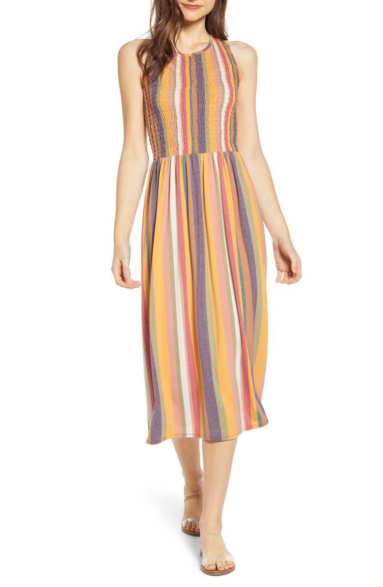 8ebb80e2d3 Smocked Midi Dress, Main, color, YELLOW MUSTARD MULTI STRIPE