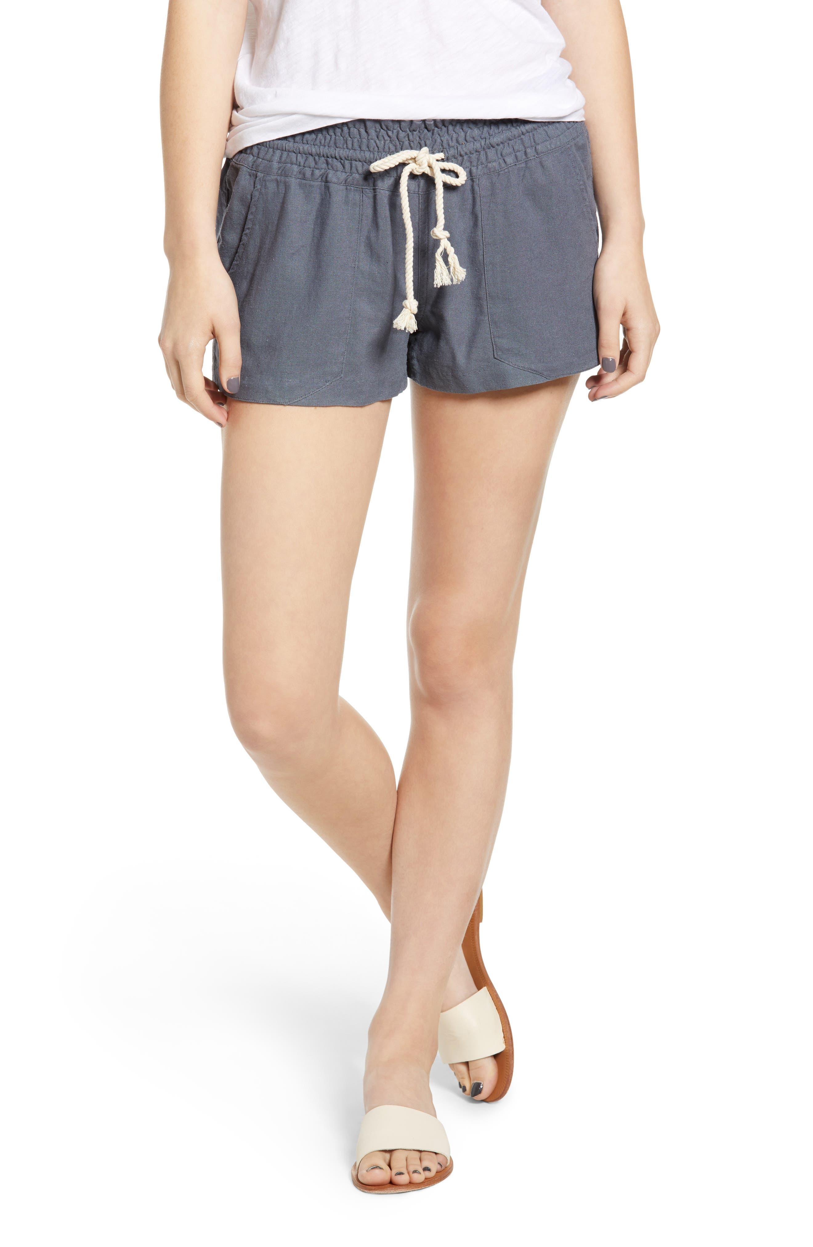 'Oceanside' Linen Blend Shorts, Main, color, 020