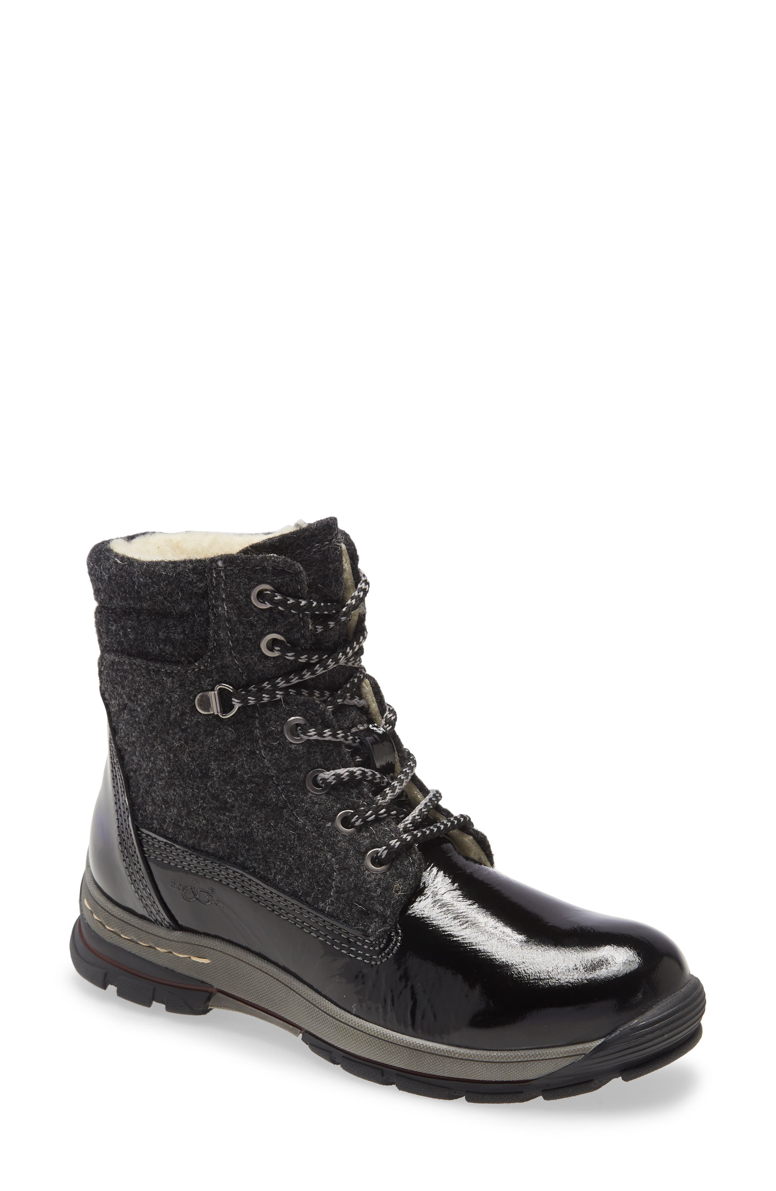 Hiker styling brings on-trend appeal to a waterproof mixed-media boot designed with a cozy wool lining and grippy lug sole to take on Old Man Winter\\\'s worst. Style Name: Bos. & Co. Gift Lace Up Wool & Leather Boot (Women). Style Number: 6086140. Available in stores.