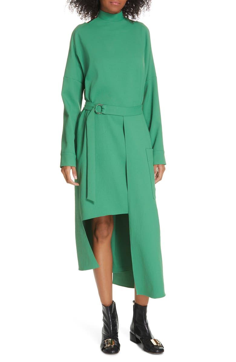 TIBI Chalky Drape Cutout Long Sleeve Dress, Main, color, BASIL GREEN