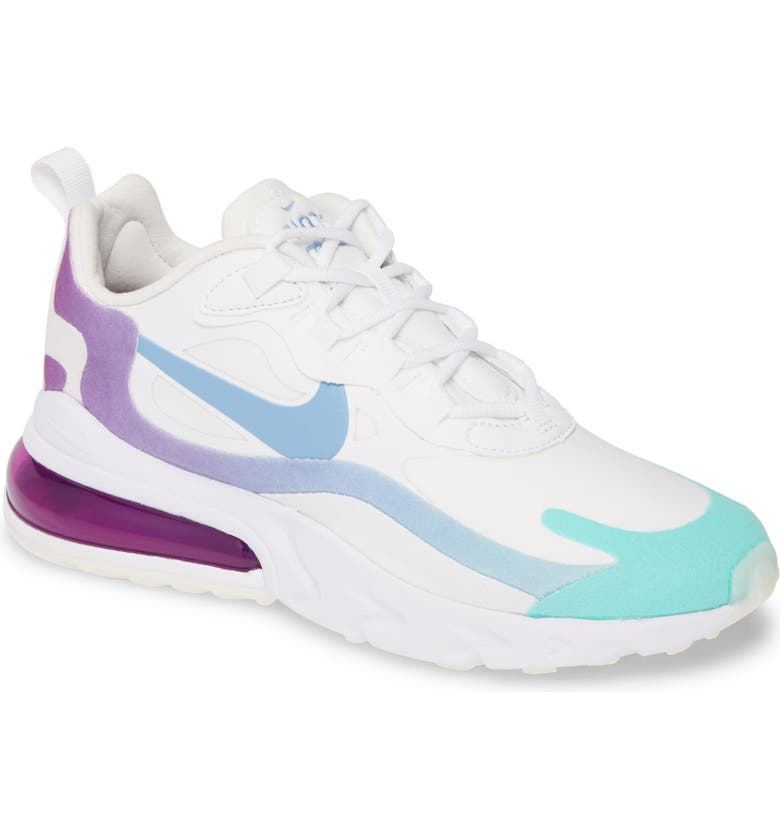 NIKE Air Max 270 React Sneaker, Main, color, WHITE/ LIGHT BLUE/ GREEN