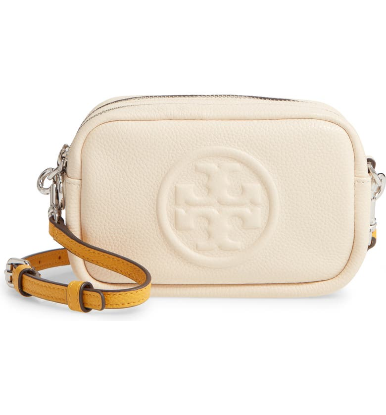 TORY BURCH Perry Bomb Leather Crossbody Bag, Main, color, 900
