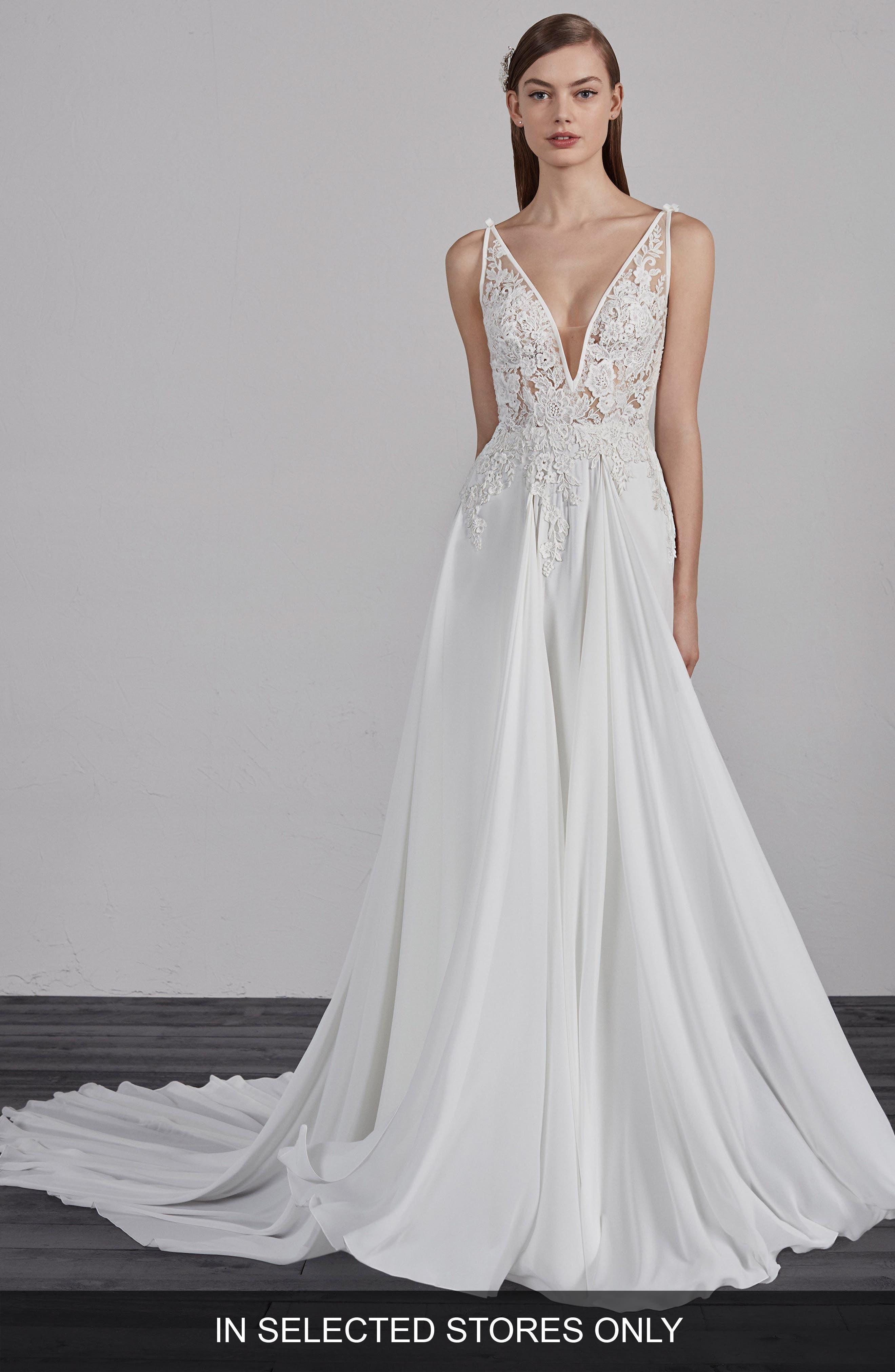 Pronovias Escala Illusion Back A-Line Gown, Size - Ivory