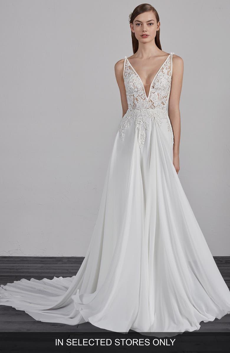 PRONOVIAS Escala Illusion Back A-Line Gown, Main, color, OFF WH/ CRST