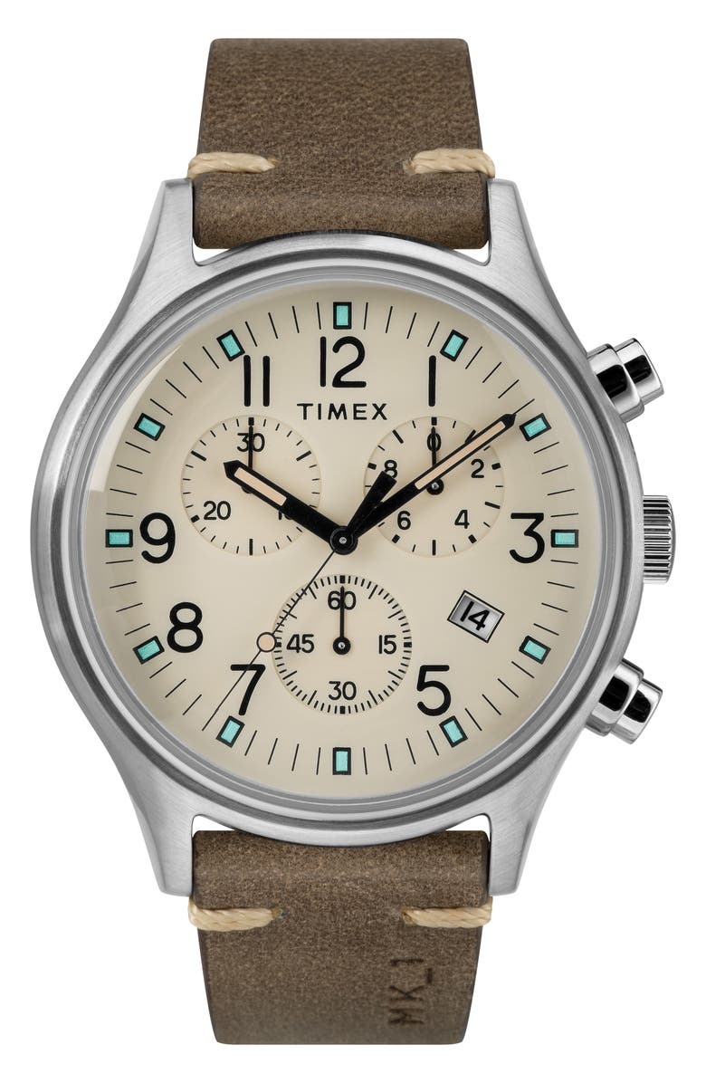 TIMEX<SUP>®</SUP> MK1 Chronograph Leather Strap Watch, 42mm, Main, color, 200