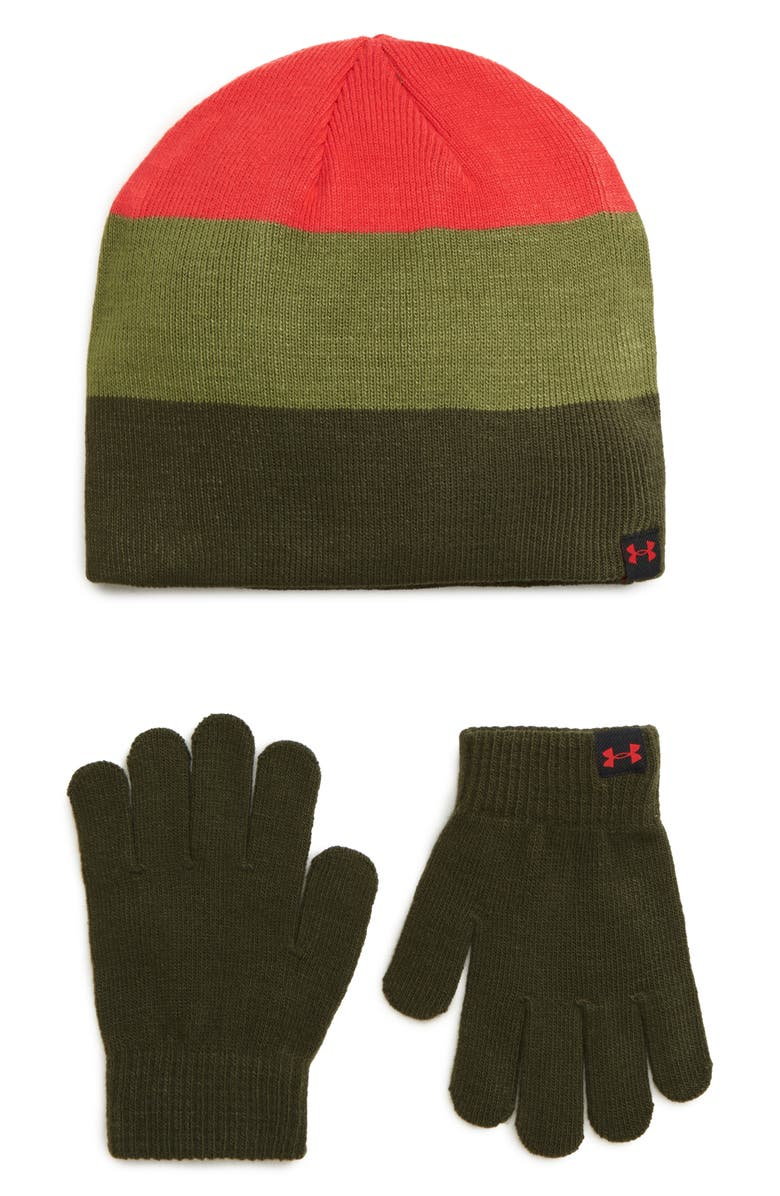 UNDER ARMOUR ColdGear<sup>®</sup> Beanie & Gloves Set, Main, color, GUARDIAN GREEN / MARTIAN RED