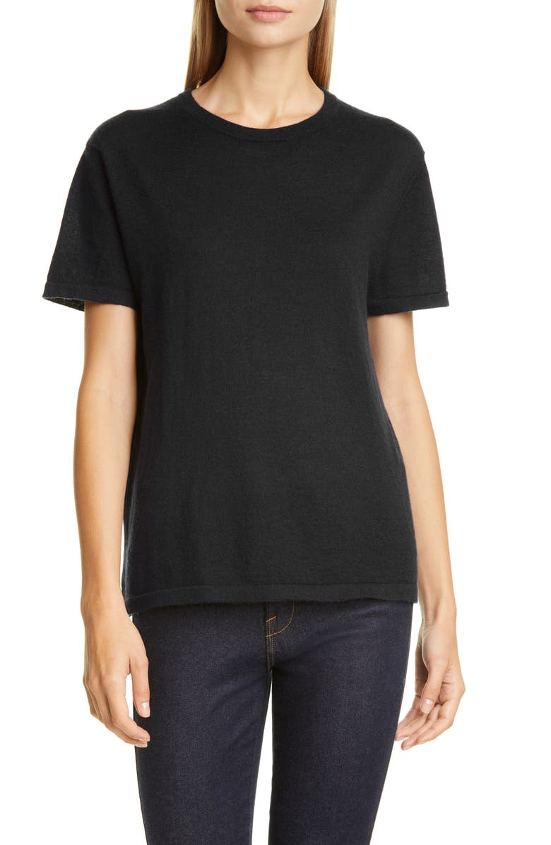 CO Essentials Cashmere Tee Sweater, Main, color, BLACK