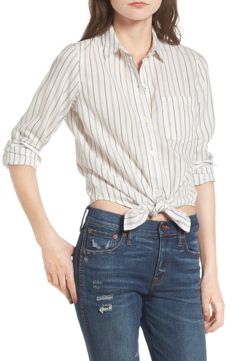 MADEWELL Stripe Tie Front Cotton Shirt, Main, color, 009