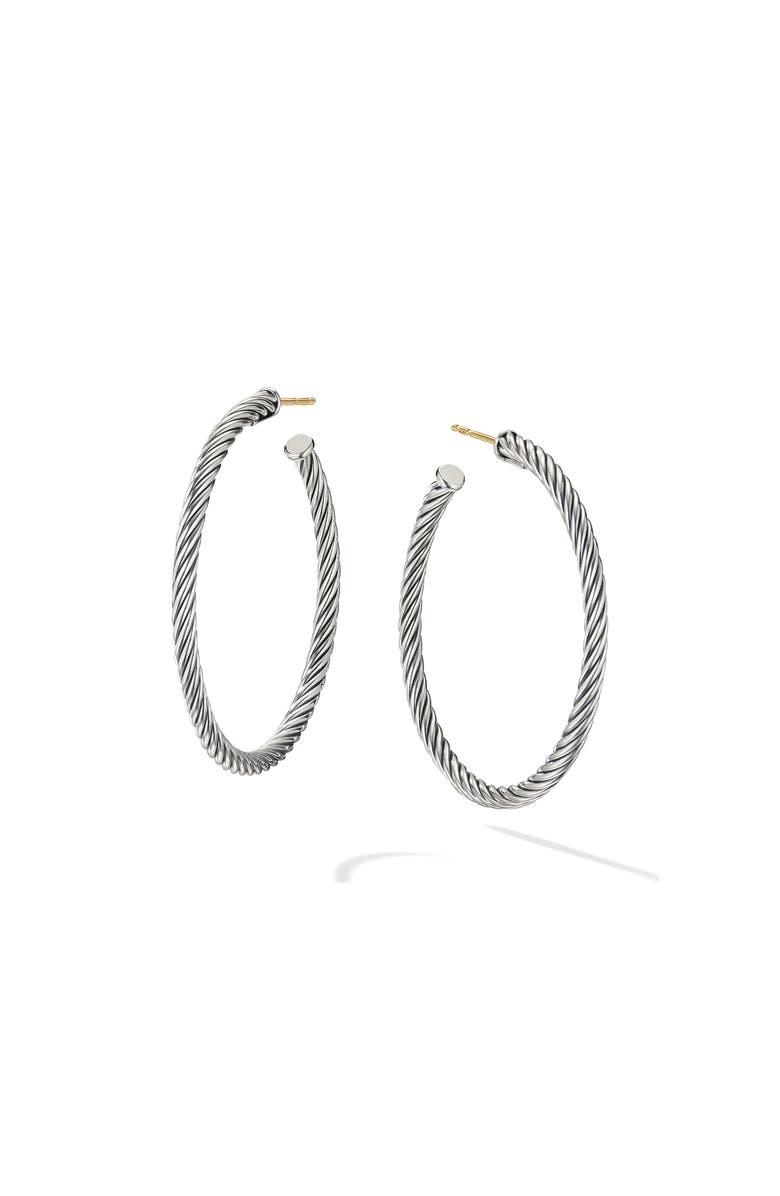 DAVID YURMAN Cable Hoop Earrings, Main, color, SILVER