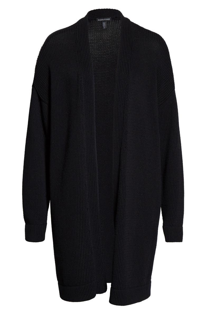 EILEEN FISHER Long Organic Cotton Blend Cardigan, Main, color, BLACK