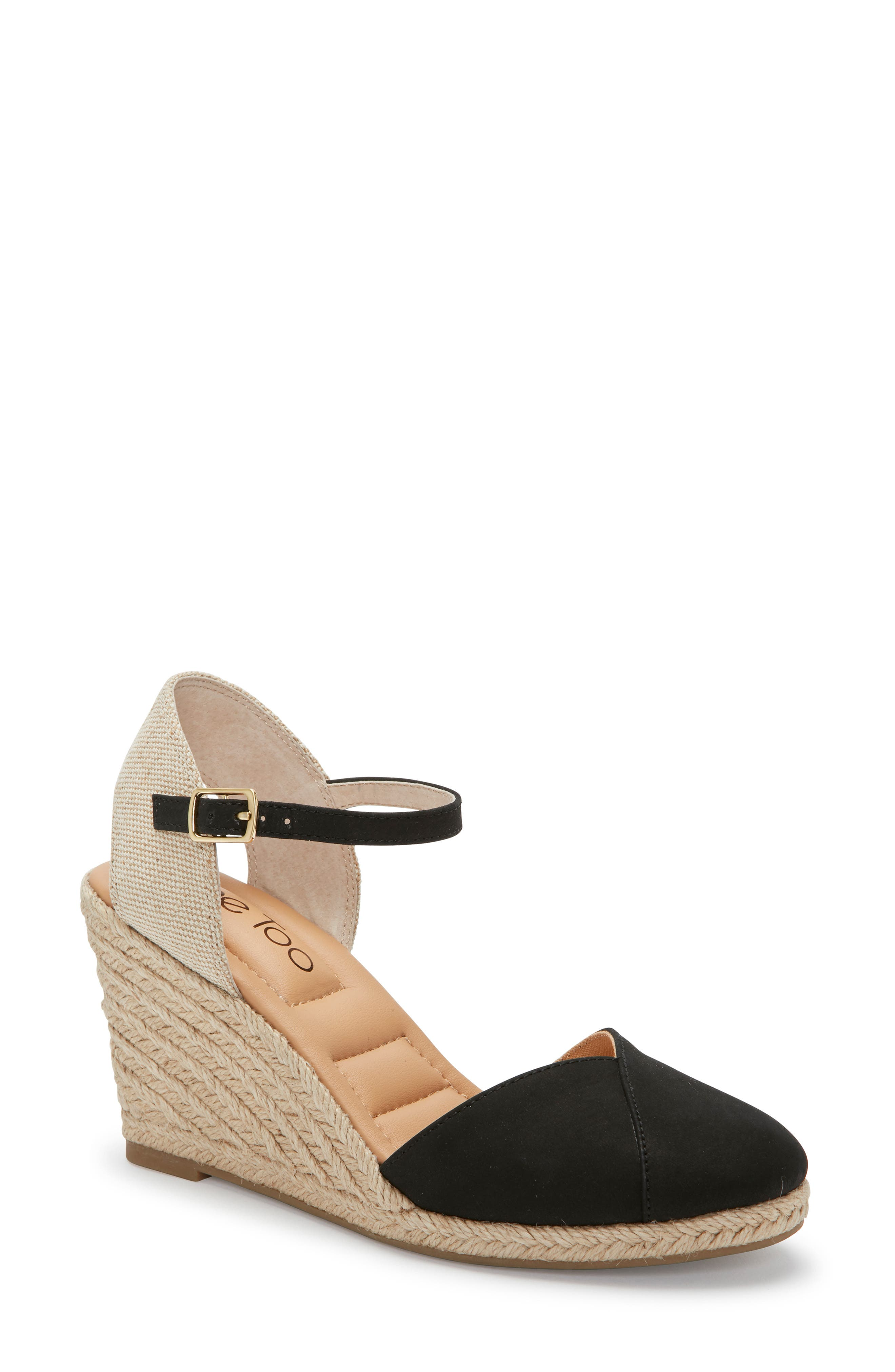 ,                             Brenna Espadrille Wedge Sandal,                             Main thumbnail 1, color,                             BLACK NUBUCK LEATHER