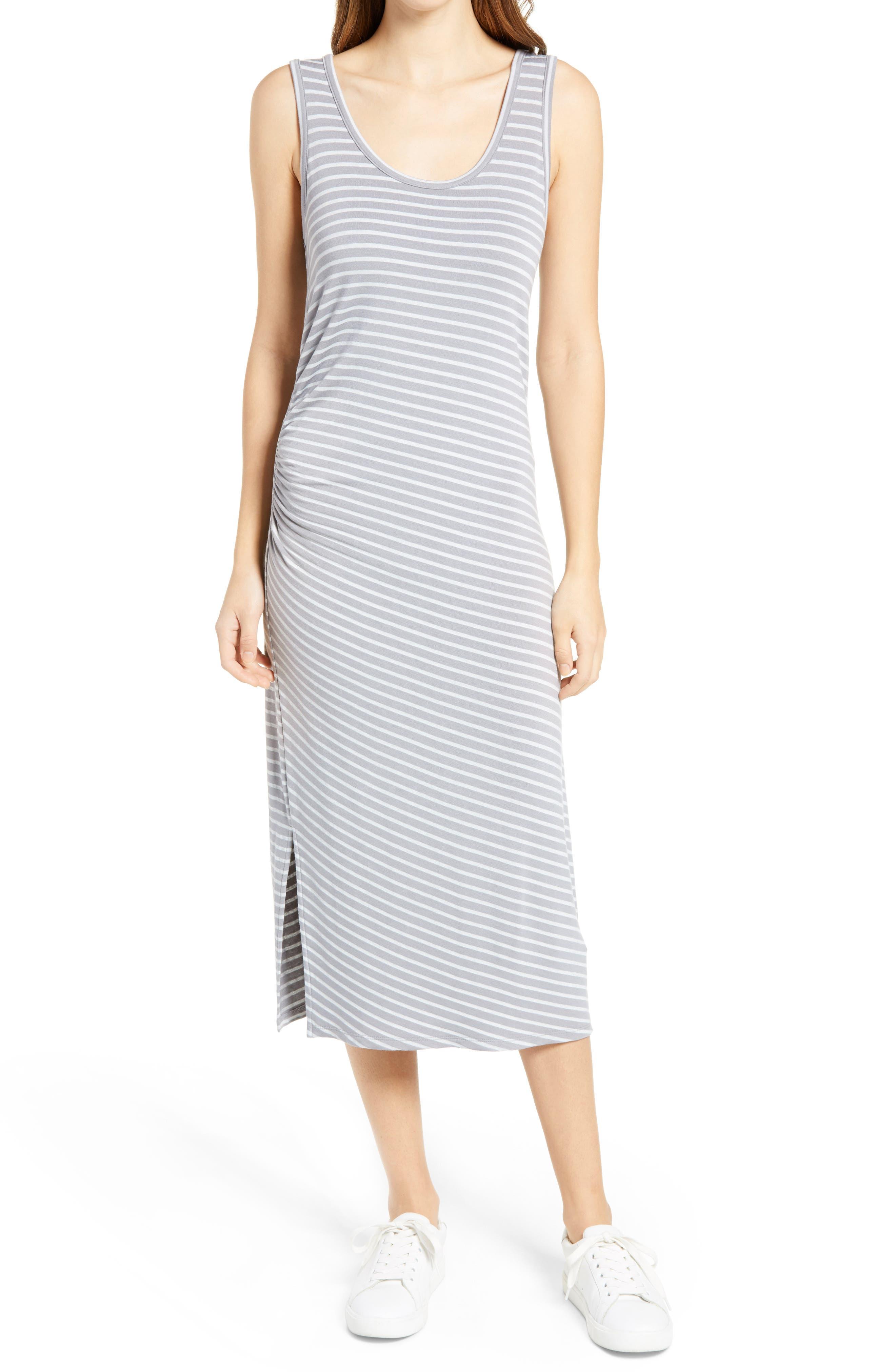 Women's Caslon Ruched Sleeveless Midi Tank Dress