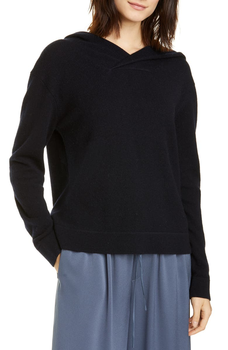 VINCE Cross Front Hooded Sweater, Main, color, COASTAL