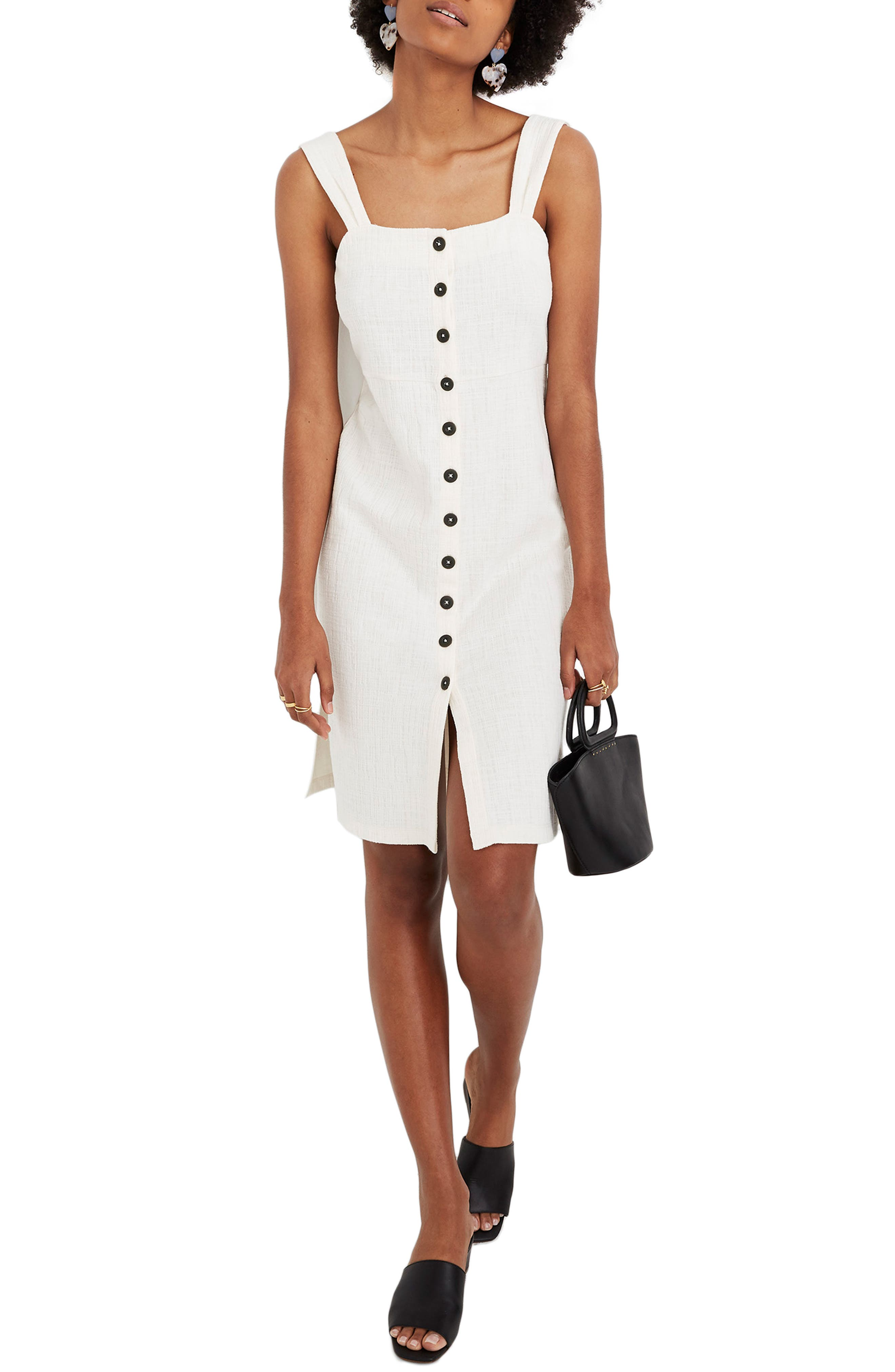 Madewell Texture & Thread Button Front Dress, Ivory