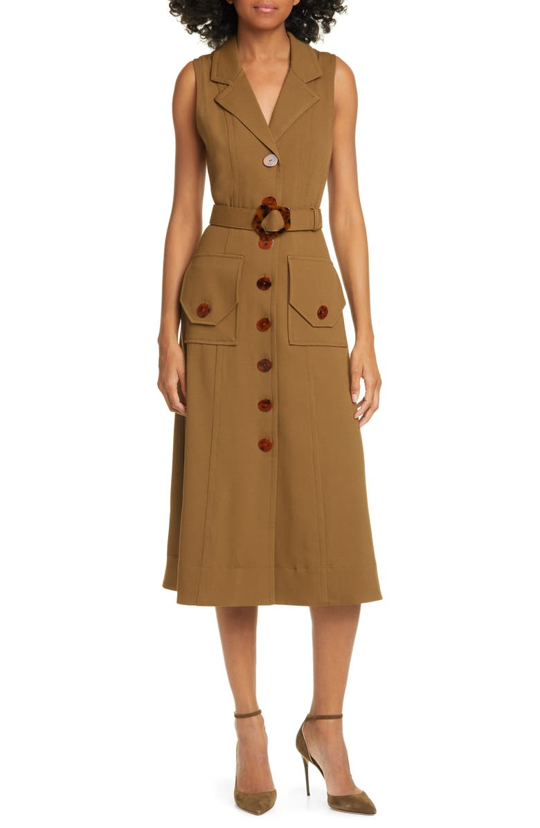 NICHOLAS Belted Button Up Silk Twill Midi Dress, Main, color, OLIVE