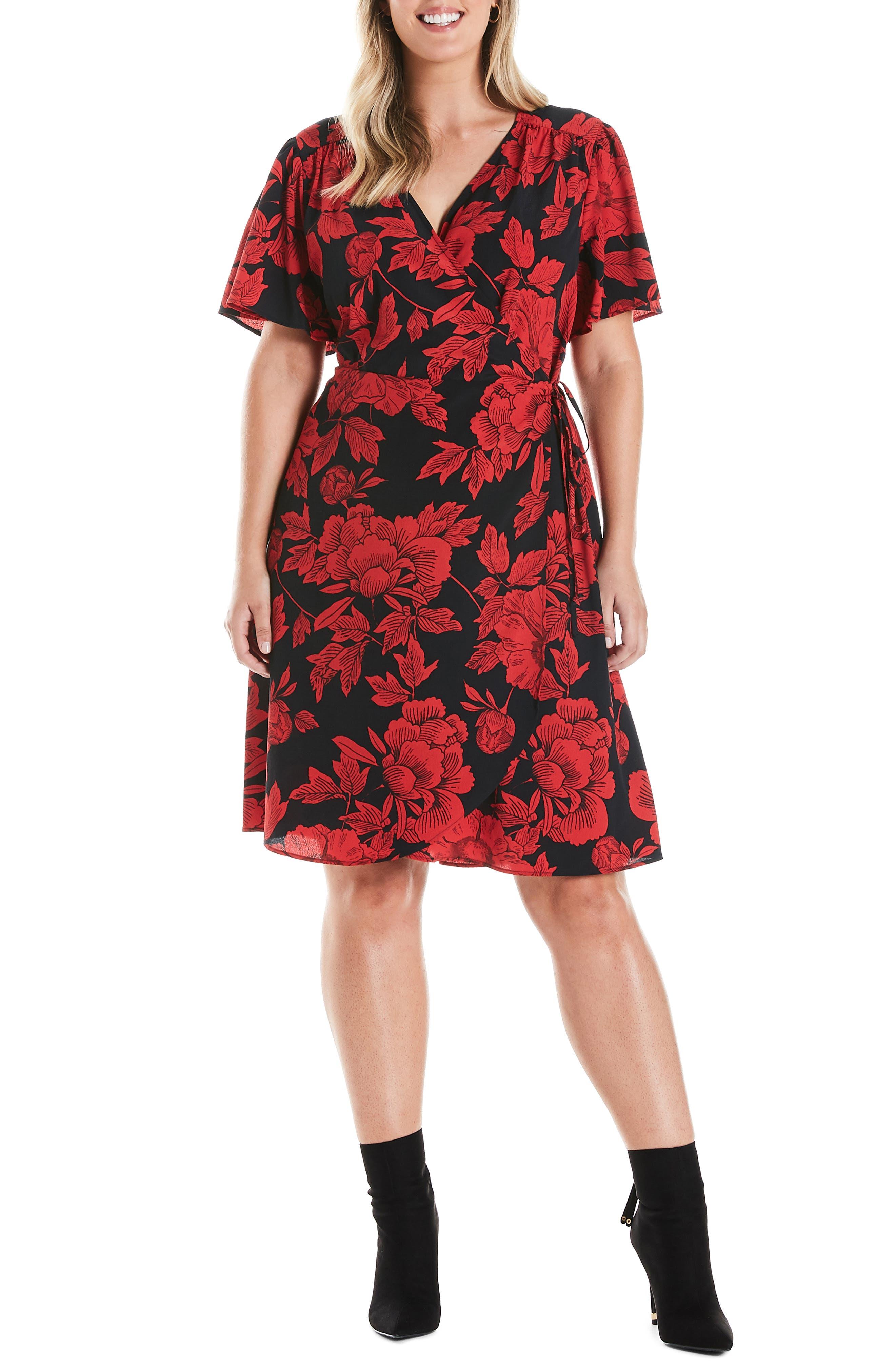 Estelle Crimson Garden Short Sleeve Wrap Dress (Plus Size)   Nordstrom