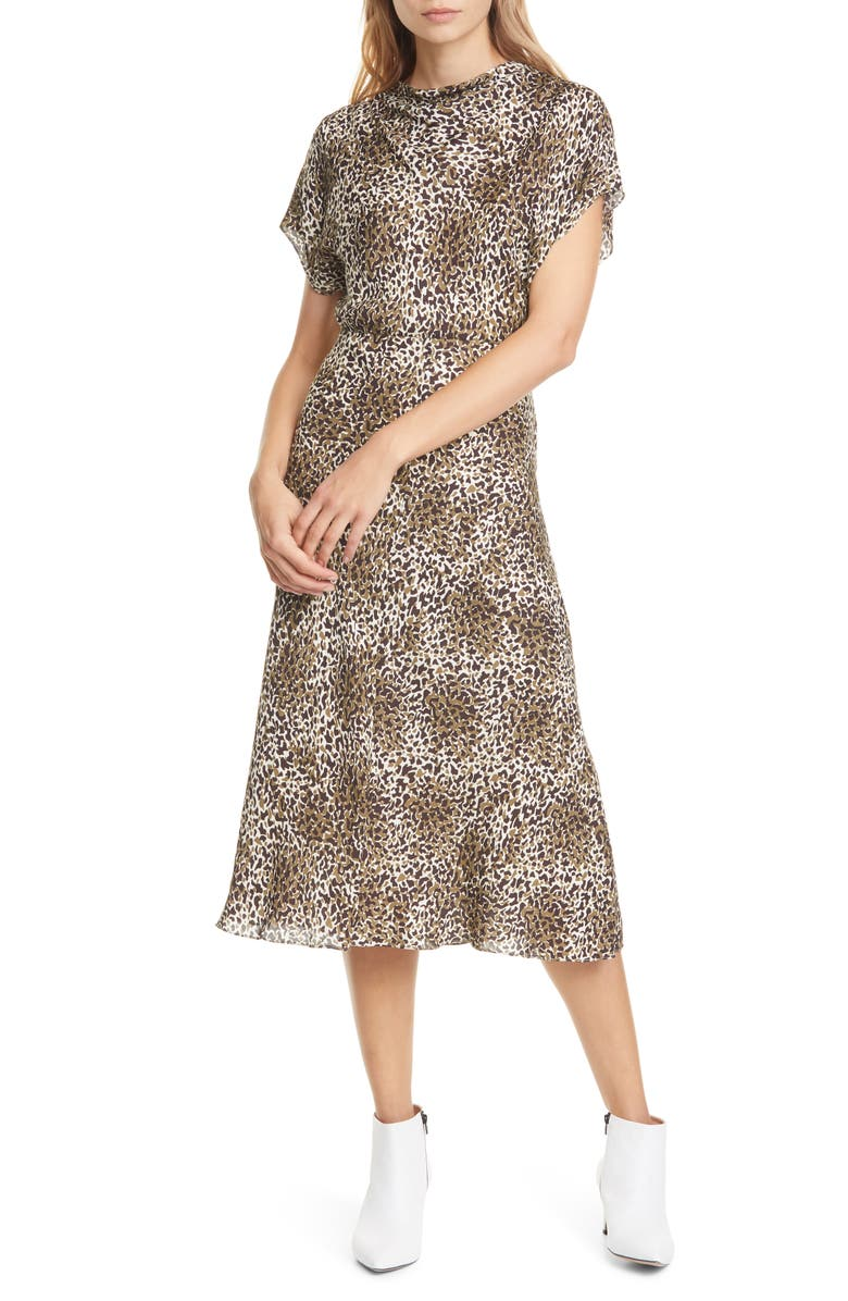 LEWIT Drape Neck Midi Dress, Main, color, 900