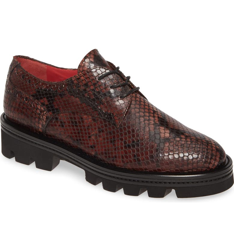 PAS DE ROUGE Lotty Snake Embossed Platform Derby, Main, color, SNAKE PRINT LEATHER