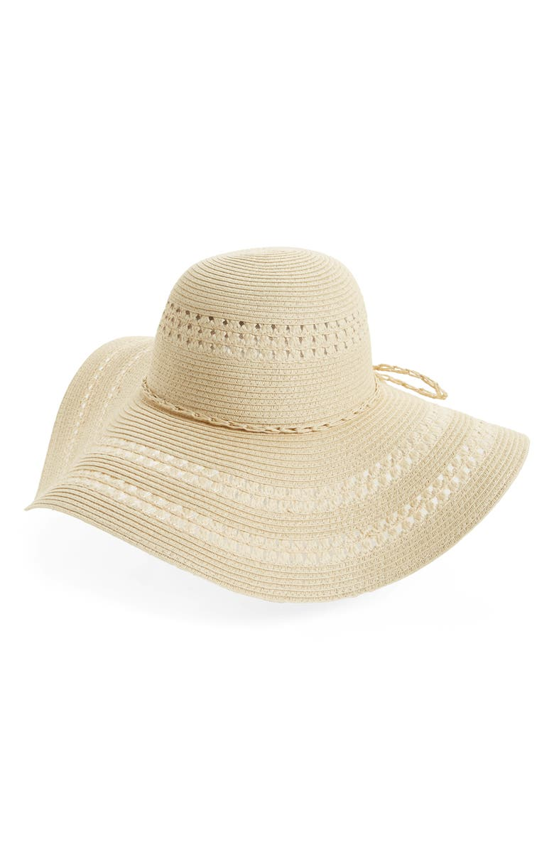 FITS Floppy Woven Straw Hat, Main, color, 101