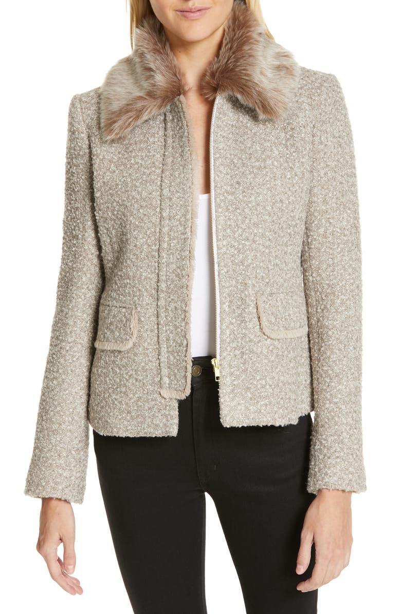 HELENE BERMAN Metallic Tweed Jacket with Detachable Faux Fur Collar, Main, color, 020
