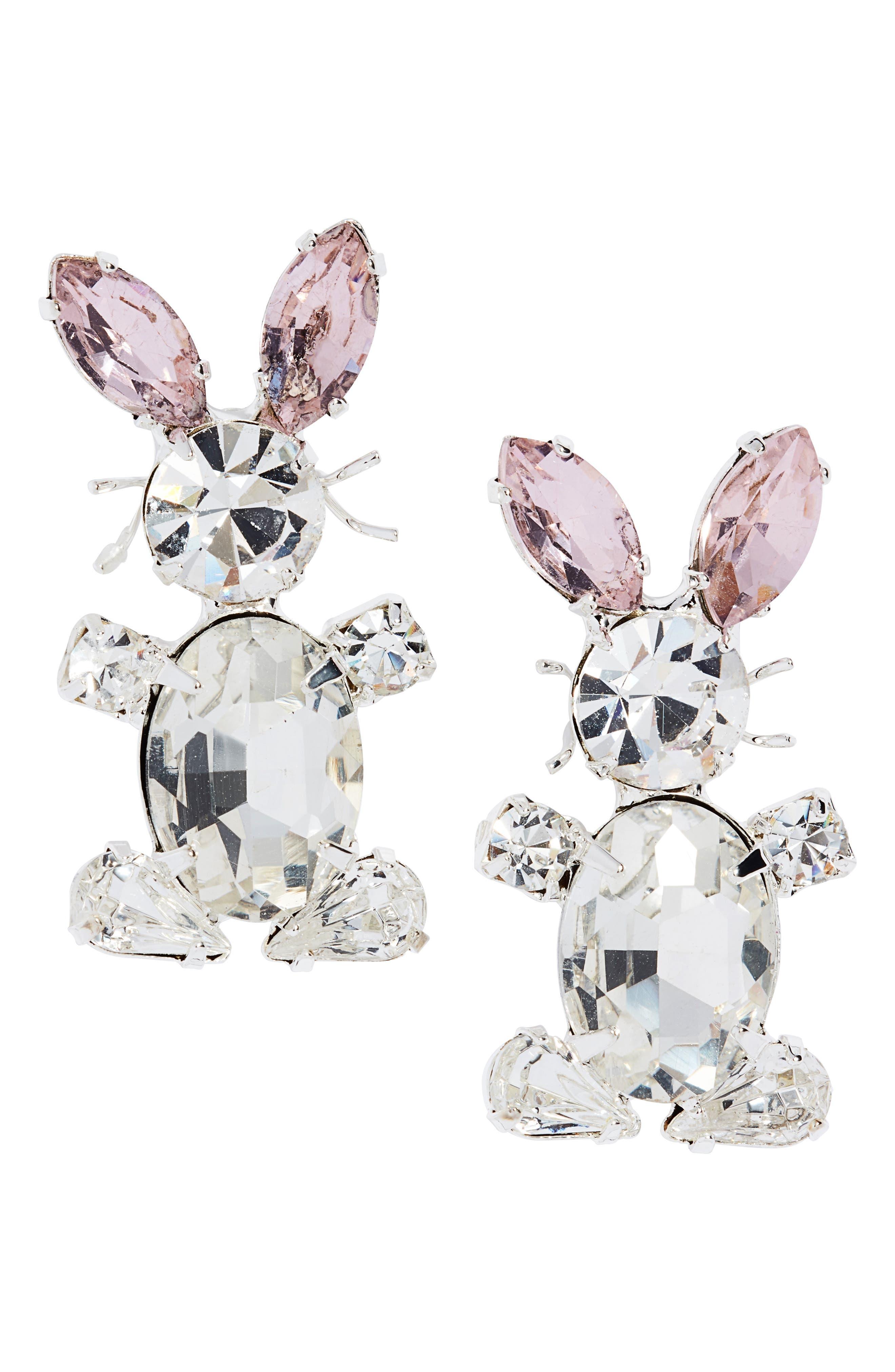 Easter Bunny Bling Stud Earrings
