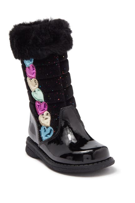 Image of Rachel Shoes Libby Faux Fur Trim Quilted Boot