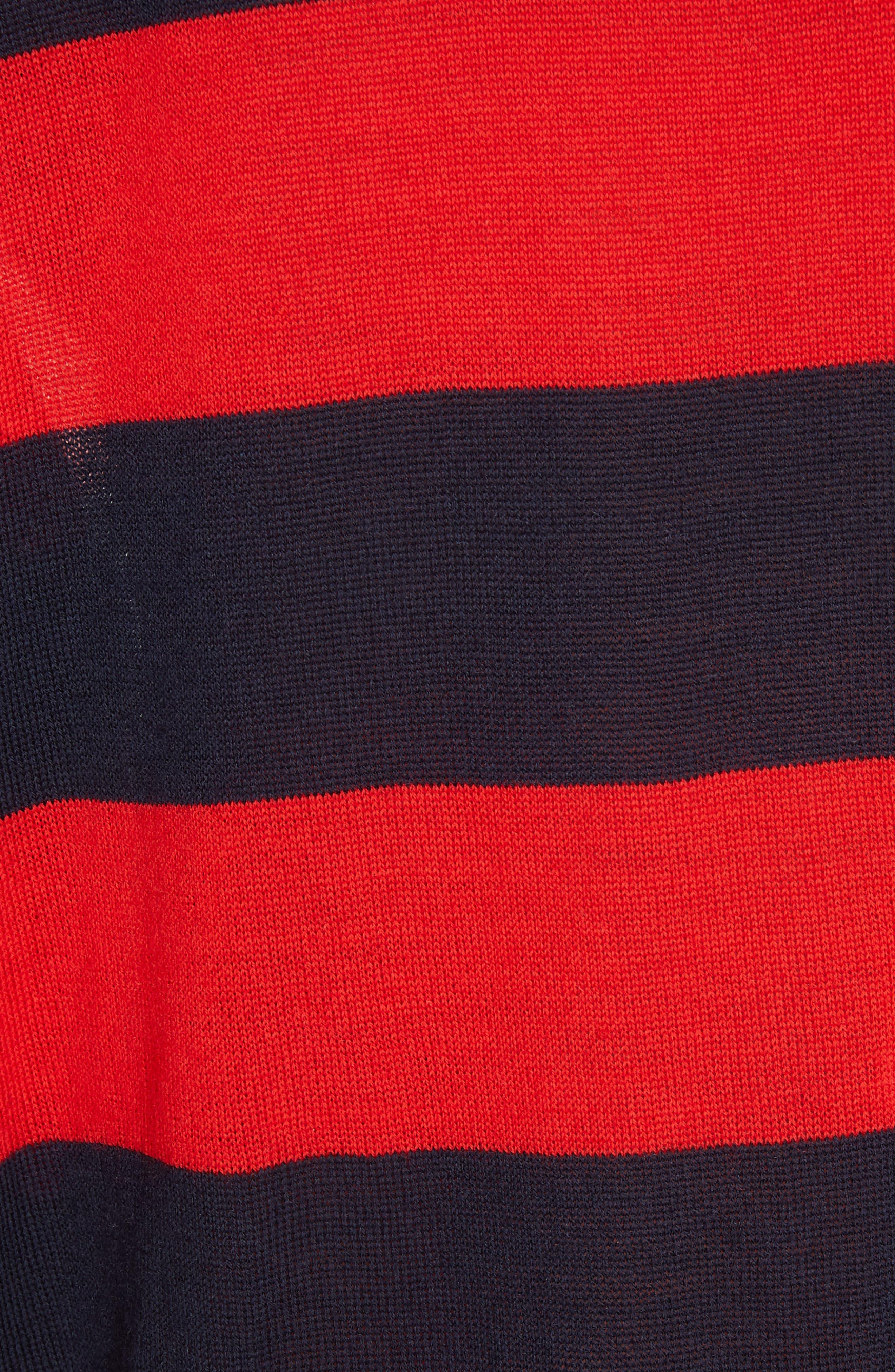,                             Stripe V-Neck Sweater,                             Alternate thumbnail 5, color,                             NAVY/ RED
