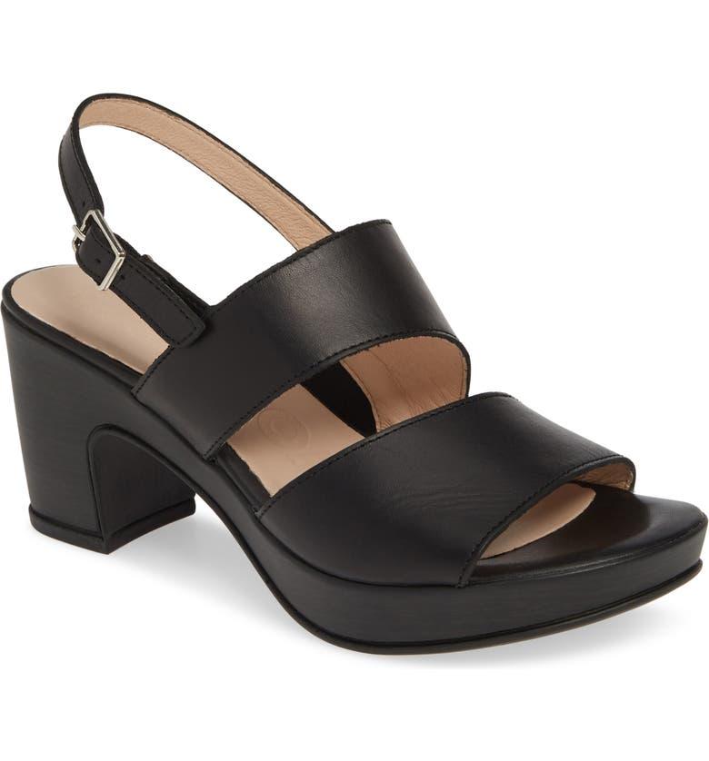 WONDERS Block Heel Sandal, Main, color, NATURE BLACK LEATHER