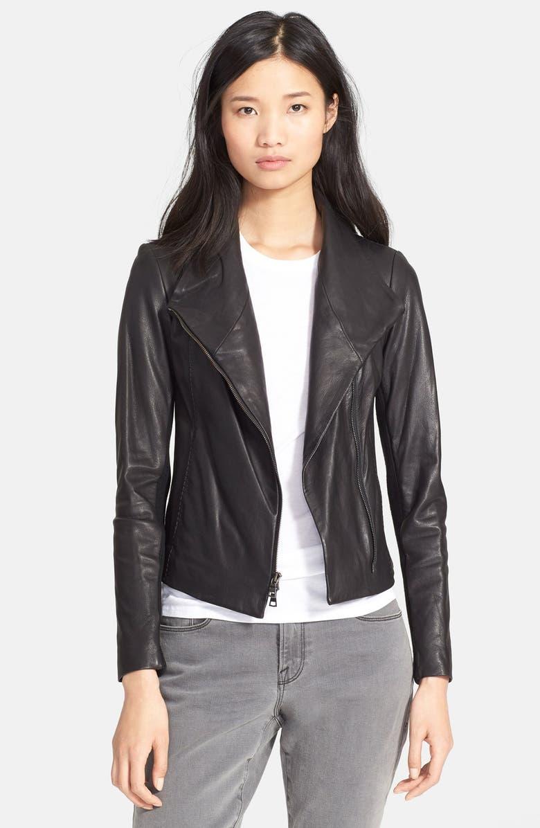 VINCE Leather Scuba Jacket, Main, color, 001