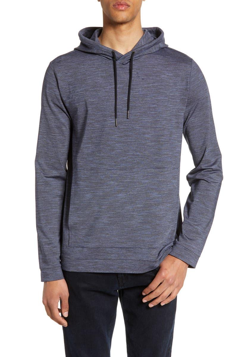 CALIBRATE Hooded Pullover, Main, color, NAVY NIGHT MELANGE STRIPE