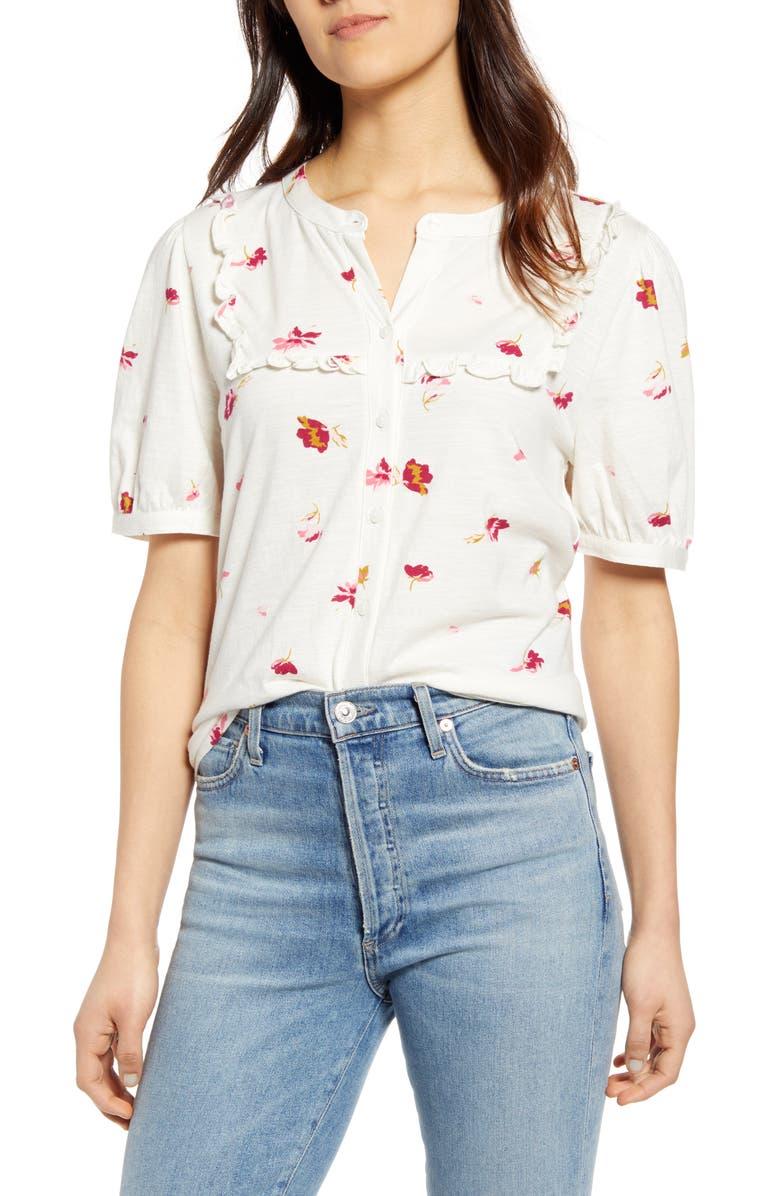 LUCKY BRAND Print Ruffle Bib Shirt, Main, color, WHITE MULTI