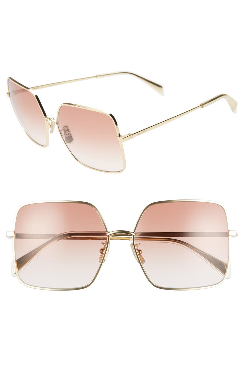 CELINE 60mm Gradient Square Sunglasses, Main, color, ENDURA GOLD/ GRADIENT BORDEAUX