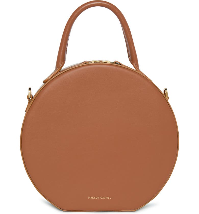 MANSUR GAVRIEL Calfskin Leather Circle Crossbody Bag, Main, color, SADDLE