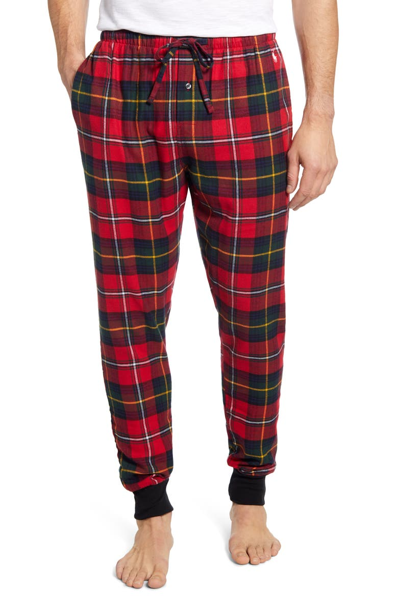 POLO RALPH LAUREN Plaid Flannel Jogger Pajama Bottoms, Main, color, BROMLEY PLAID