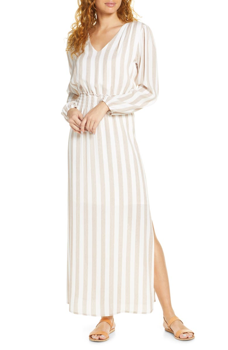 Smocked Waist Long Sleeve Maxi Dress